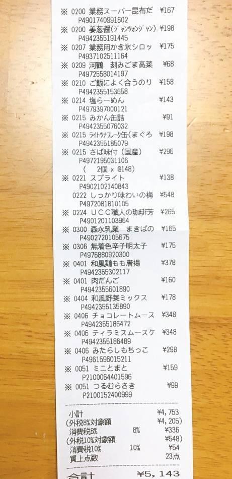 業務スーパー 2021年8月第5週のレシート