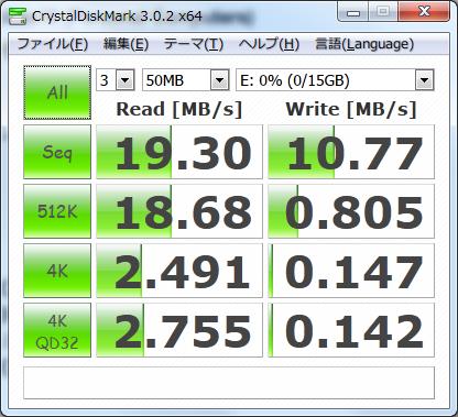 AmazonBasic SDHC 16GB class10 ベンチマーク