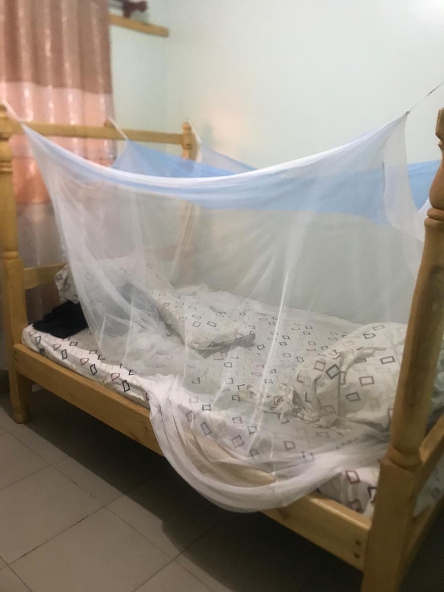 ゲストハウスの蚊帳付きベッド