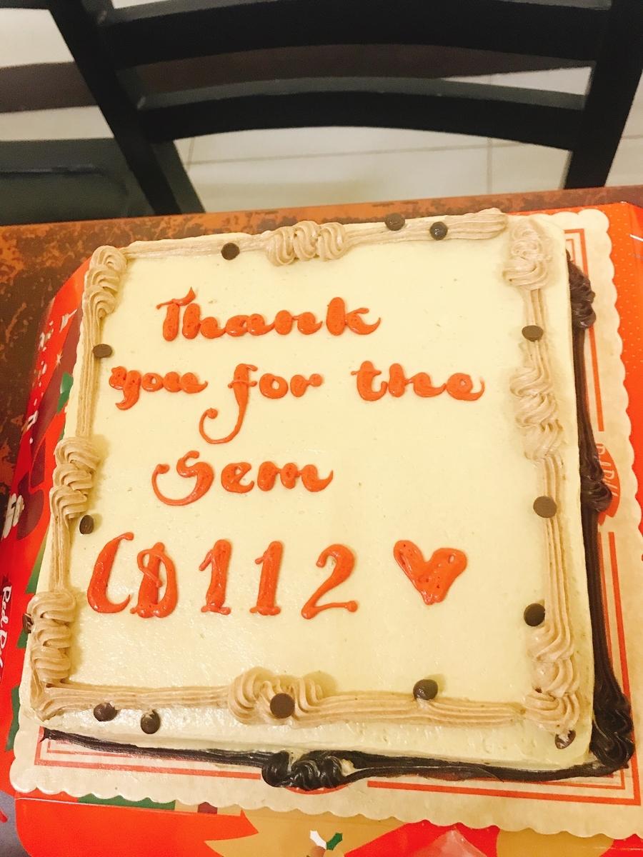 CD112の授業の最後は持ち寄りパーティー。ケーキを持ってきてくれたおが居ました。