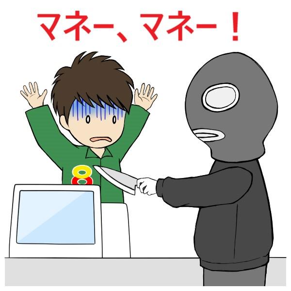 ナイフを持ってバイトを威嚇するコンビニ強盗