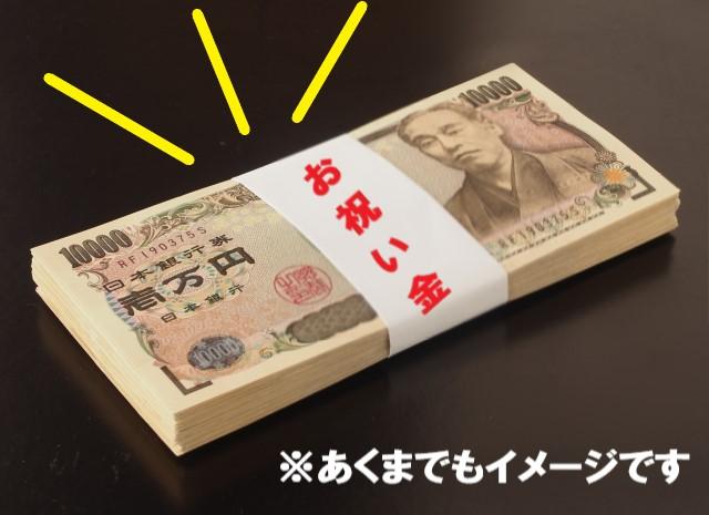 コンビニバイトお祝い金をイメージした一万円札