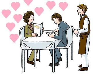 レストランでトムカーガイを注文するカップル