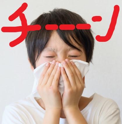 蓄膿症で鼻をかむ子供