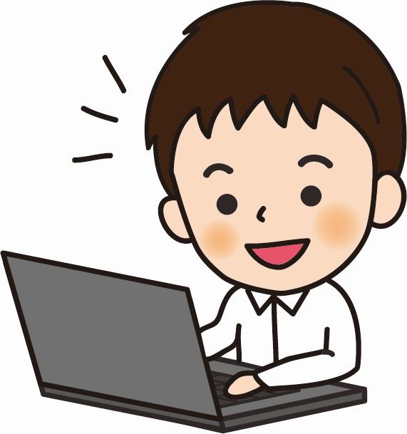 パソコンで調べ物をする男性