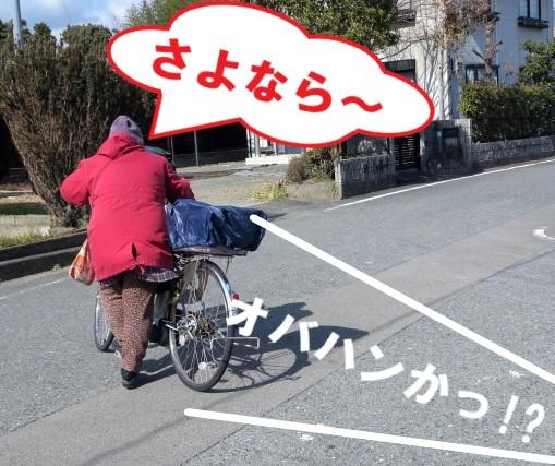 自転車で帰る女性