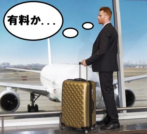 空港でスーツケースを持つ男性