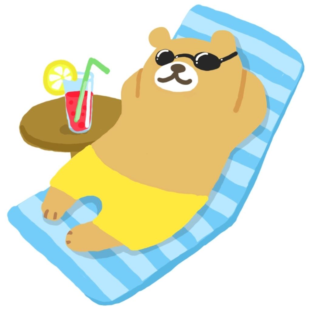 ビーチで昼寝をする熊のイラスト