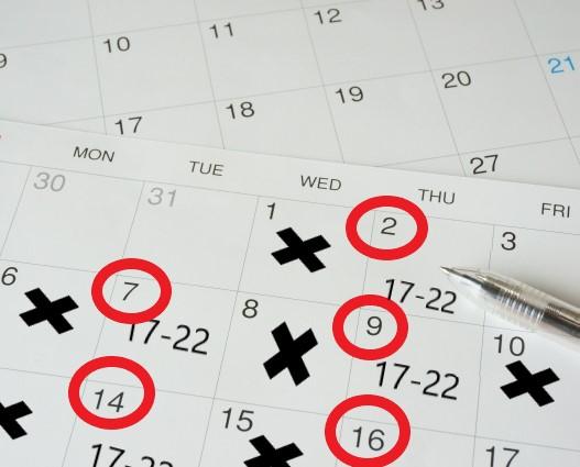 コンビニバイトの固定シフトをカレンダーに表記
