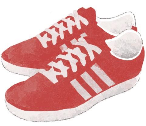 赤色のスニーカーのイラスト