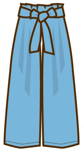 青色のワイドパンツのイラスト