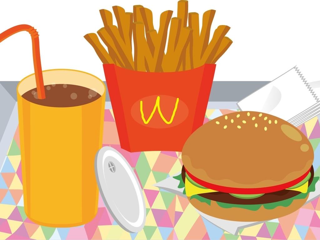 偏った食事、ハンバーガー、コーラ、ポテト