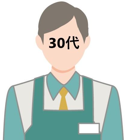 30代コンビニ店員 イラスト
