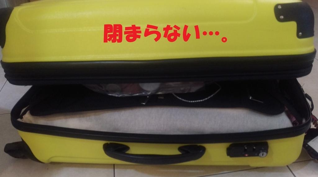 かさばっているスーツケース