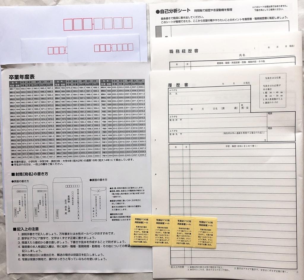 デイリーヤマザキで売っている履歴書用紙の中身(セット内容)一式