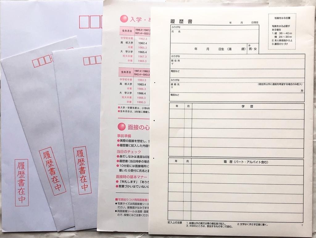 コンビニ各社で売られているパート・アルバイト用履歴書用紙の中身