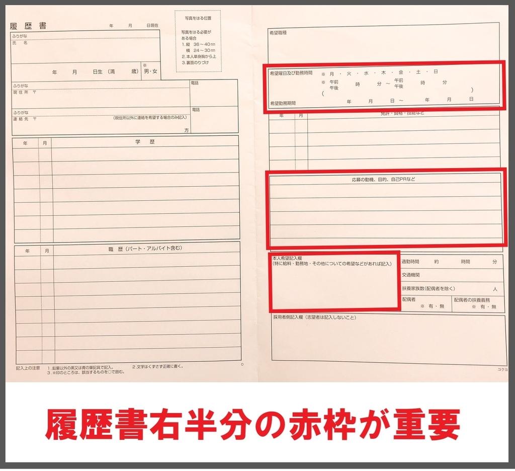 志望動機と本人希望欄に赤枠を付けた履歴書用紙