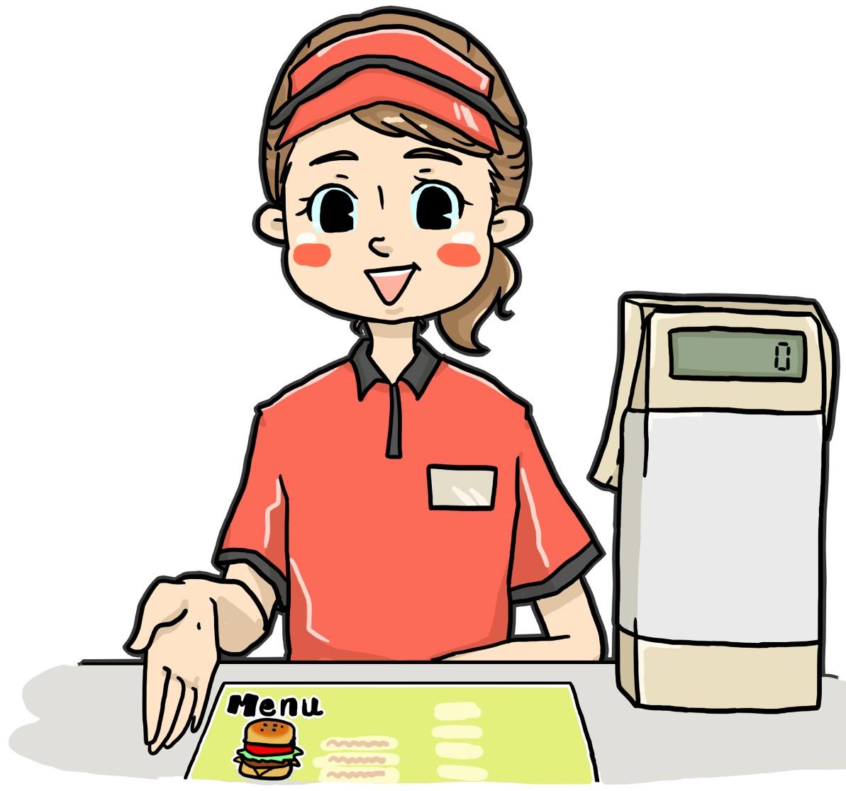 飲食店バイト楽な店第位一位ファストフード店の女性店員