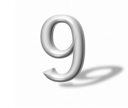 宙に浮く9の文字