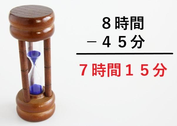 砂時計の横に8時間ー45分=7時間15分のテキスト