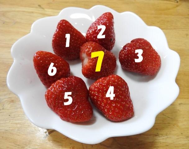 イチゴが7つ乗った皿