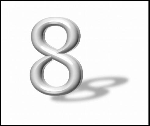 8と書かれた宙に浮く文字