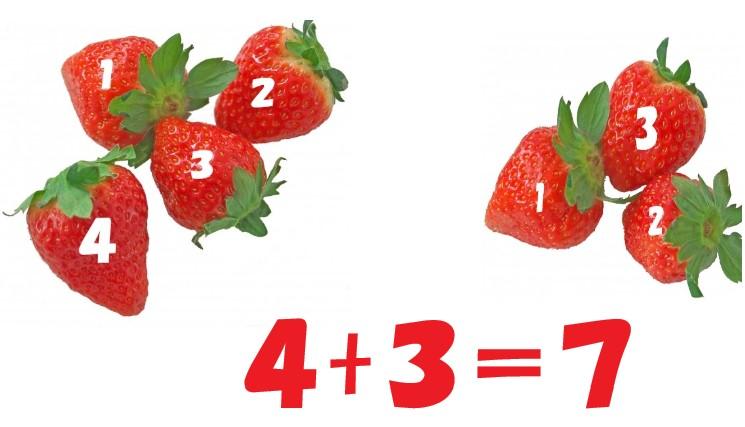 いちごが4つといちごが3つ。4+3=7のテキスト入り