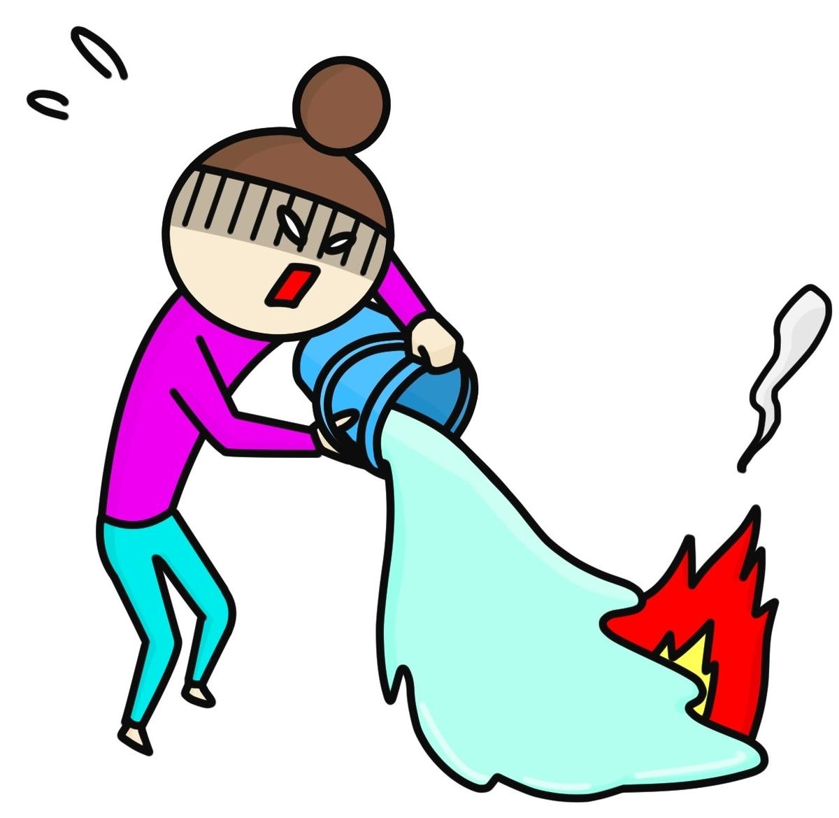 バケツの水をぶっかける女性