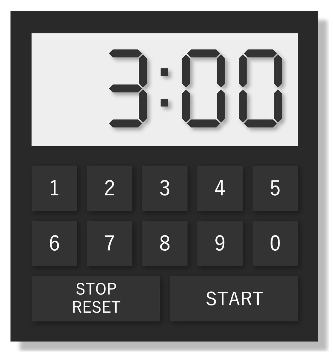 3:00と表示されているタイマー
