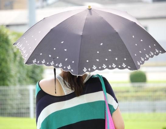 後ろ向きで立つ、日傘を差している女性