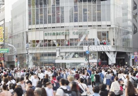 渋谷スクランブル交差点にあるスタバ