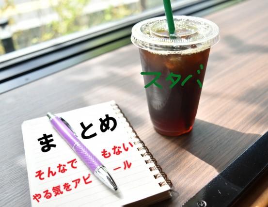 スタバのアイスコーヒーと、まとめと書かれたノート