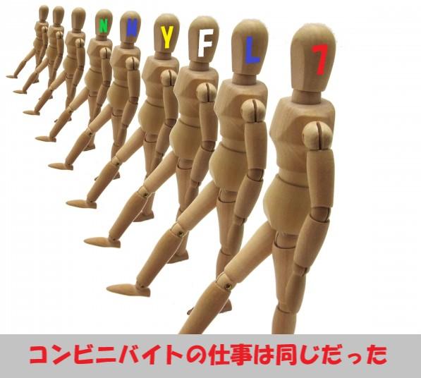 コンビニバイトの仕事は同じだったと足並みを揃える人形