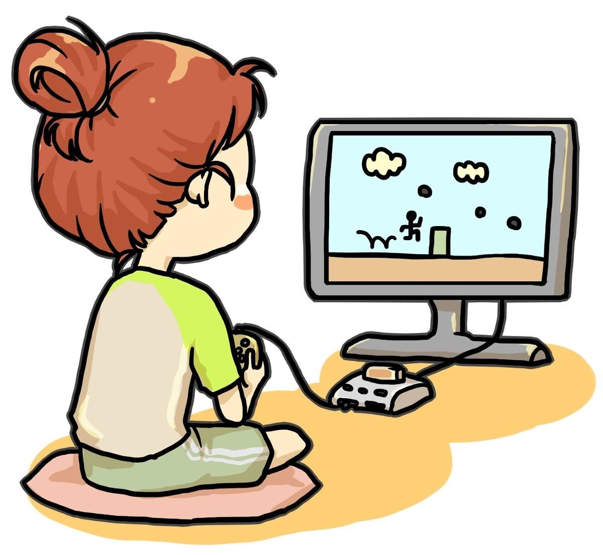 自宅で待機中にテレビゲームをする女性