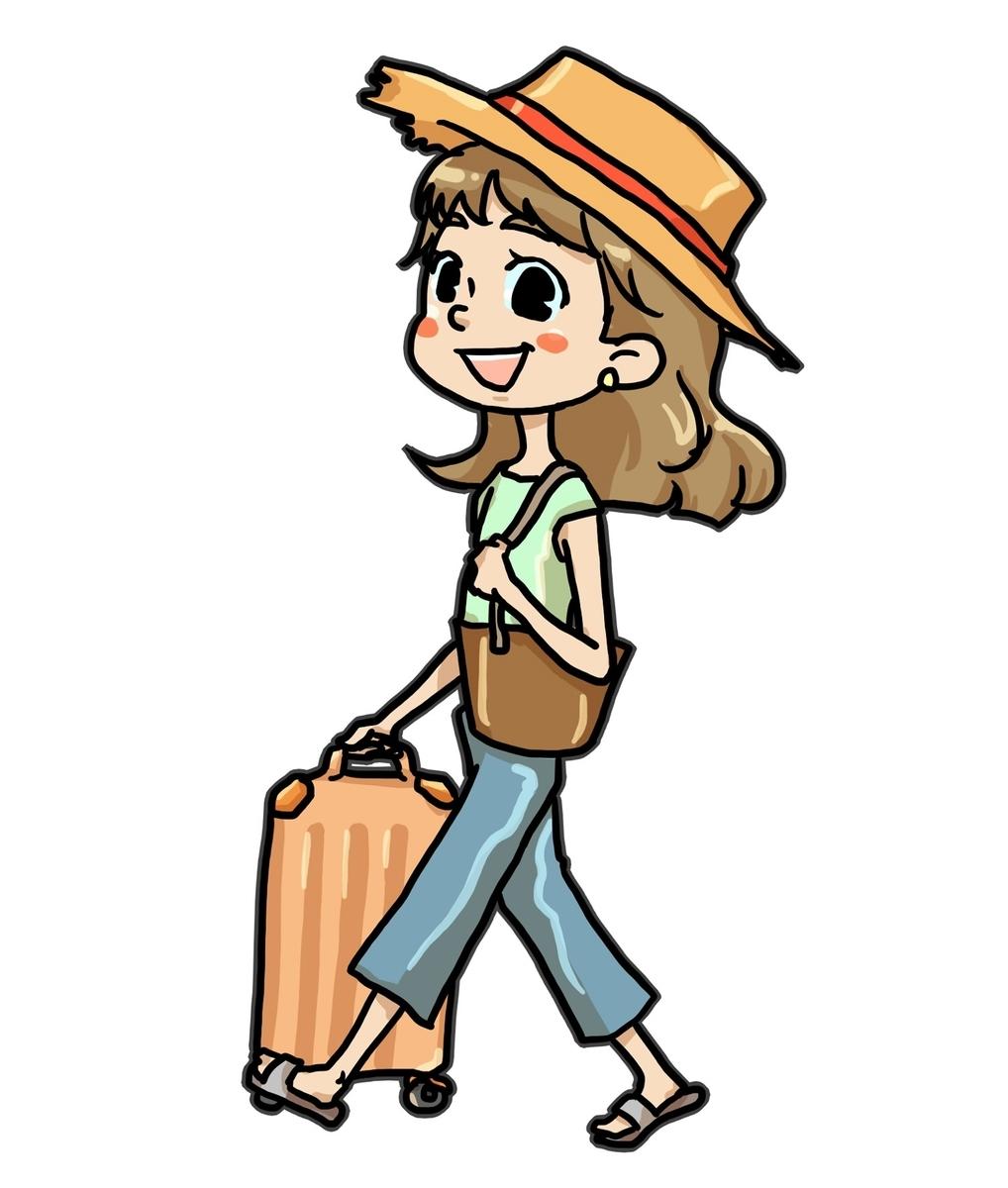 自由に休んで海外旅行に行く女性
