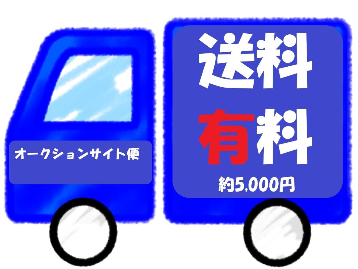送料有料と書かれたメルカリのトラック