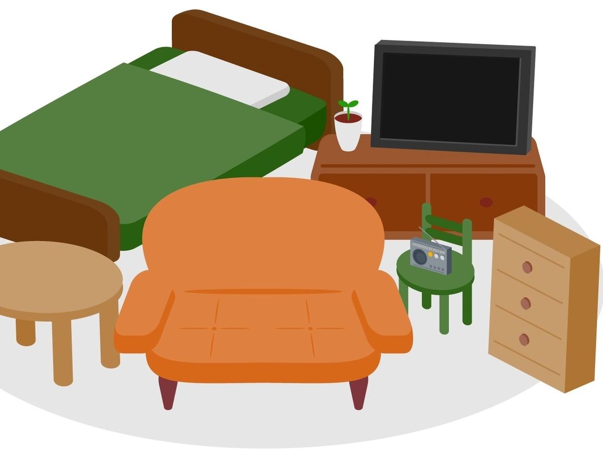 ベッドやソファーなどの粗大ごみのイラスト