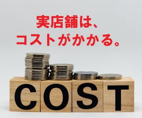 COST(コスト)と書かれたブロック。と上に積まれたコイン