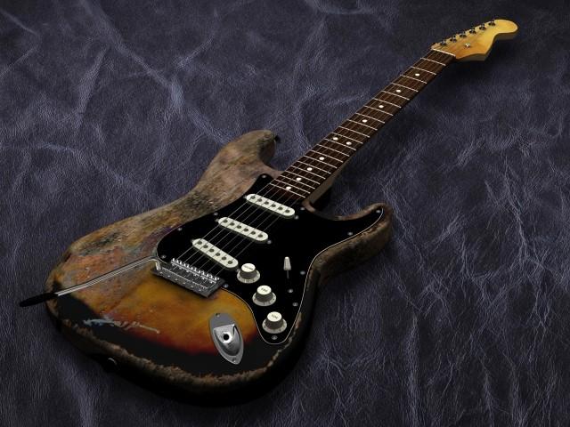塗装が剥がれて壊れたエレキギター