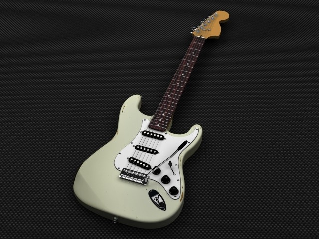 府中市で捨てると粗大ごみになる白いエレキギター