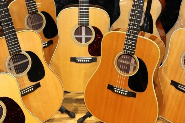 ディスプレイされたフォークギター7本