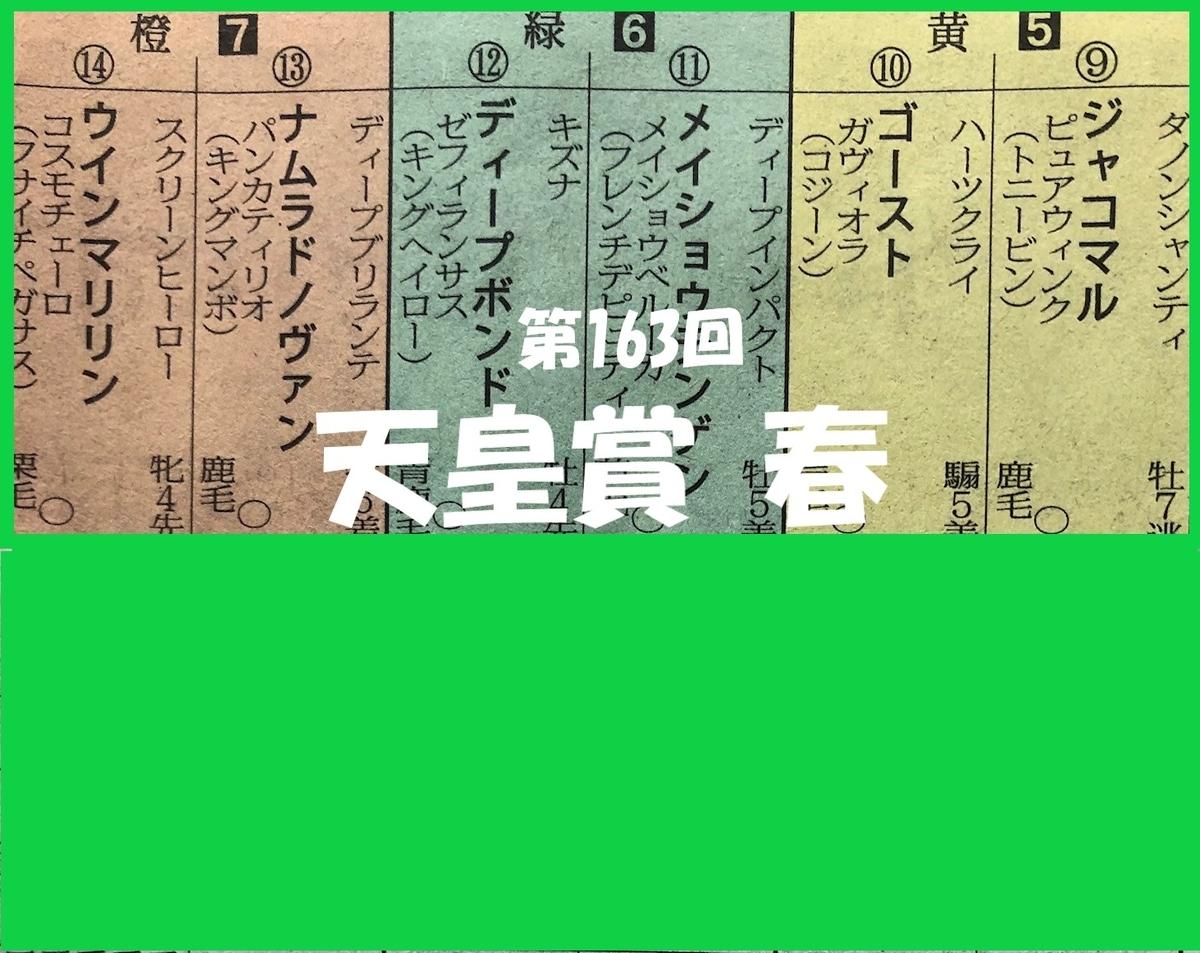 第163回天皇賞春の馬柱6枠12番ディープボンド