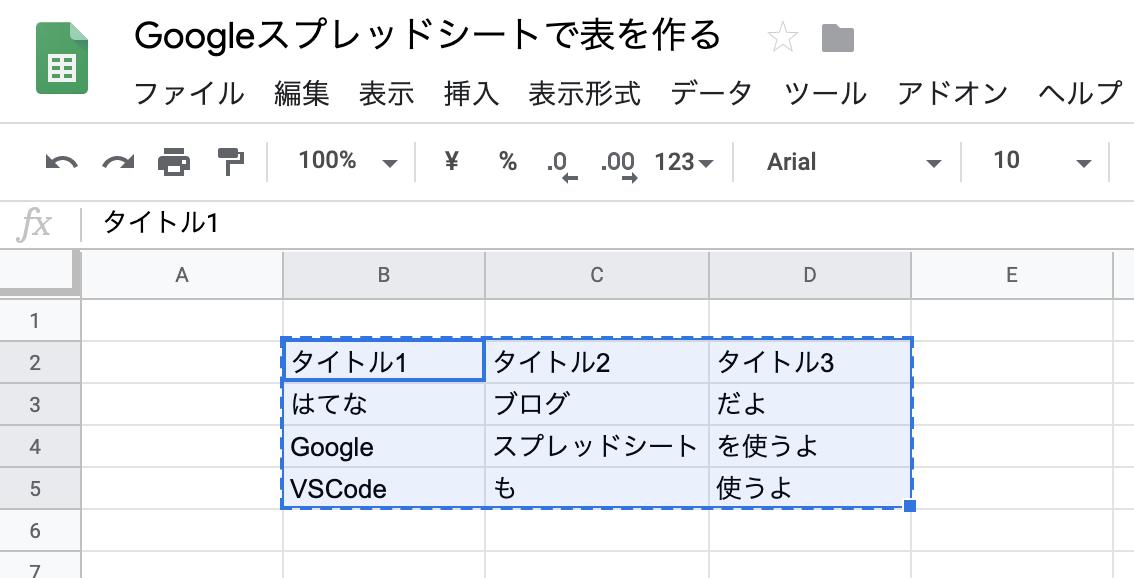 Googleスプレッドシートで表を作ってコピーする