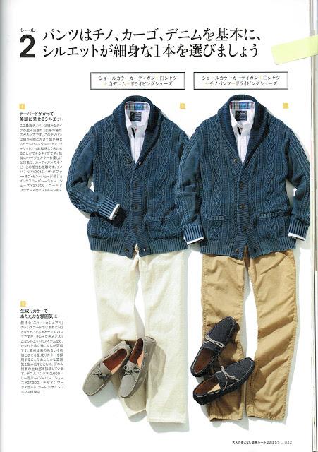 紺のセーターに合うコーディネート、2例