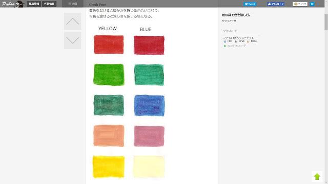 左側は黄色を混ぜた色、右側は青色を混ぜた色