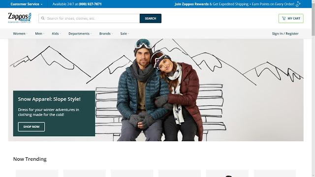 ザッポスの公式サイト、キャプチャ画面