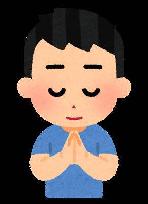 神社・お寺・お墓などにお参り(参拝)した男の子が両手を合わせて拝んでいるイラストです。