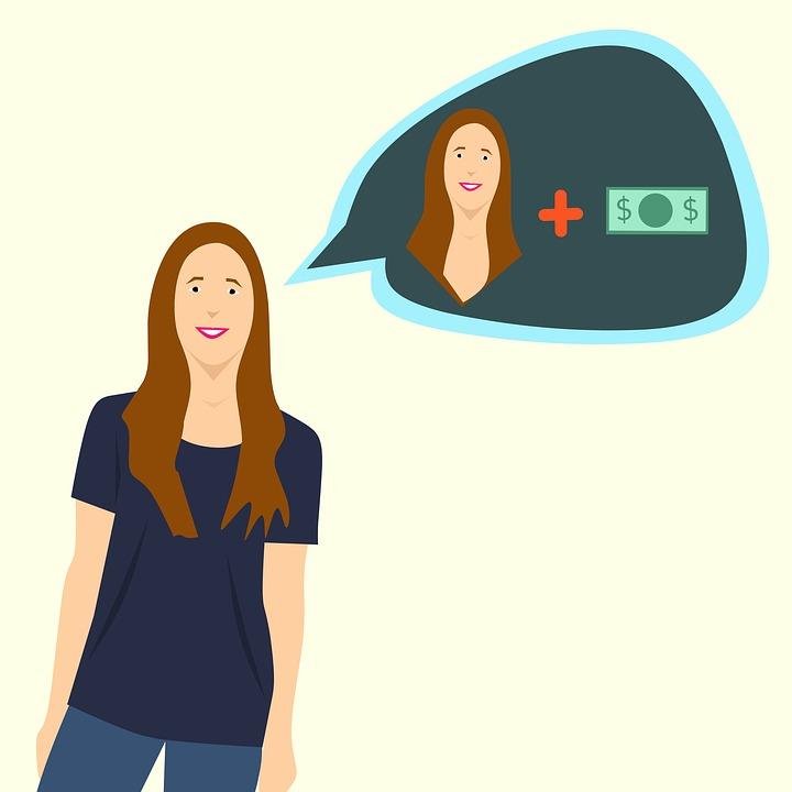 自分+お金を想像する女のイラスト