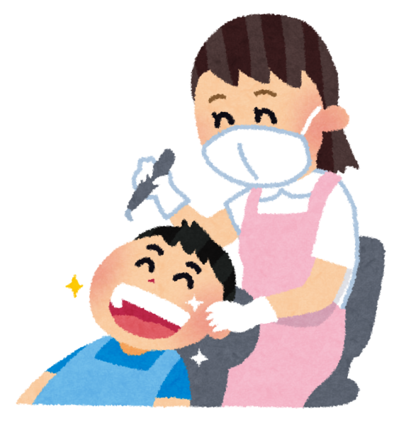歯科衛生士と患者のイラスト