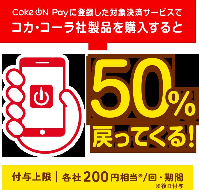CokeON50%戻ってくるキャンペーンの画像